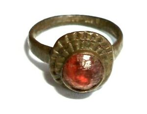 Medieval Ancient Bronze Ring With Red Stone Roman