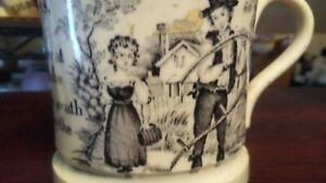 Life On A Farm Antique Staffordshire Transferware Child S Mug Rare 1840 C