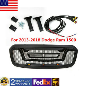 For Dodge Ram 1500 2013 2017 2018 Front Bumper Grill With 3 Led Lights Cover