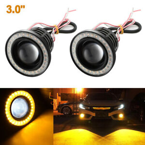 2x 3 0 Projector Yellow Led Fog Light Cob Angel Eye Halo Ring Kit For Car Truck