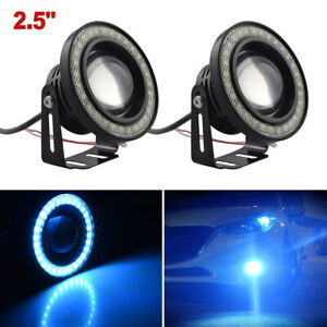 2 5 Inch Cob Led Fog Light Projector Car Ice Blue Angel Eyes Halo Ring Drl Lamp
