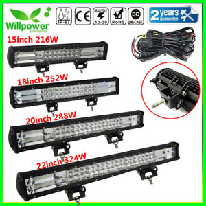 12 15 18 20 22inch Tri Row 7d Led Work Light Bar For Off Road Car 4wd Suv Jeep