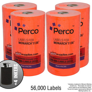 Red Pricing Labels For Monarch 1136 Price Gun 4 Sleeves 32 Rolls 56 000 Pack