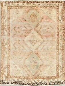 Antique Old Persian Sultanabad Wool Rug Handmade Geometric Oriental Carpet 5 X 6