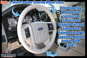 2007 2008 2009 Ford Expedition Leather Wrap Steering Wheel Cover Gray