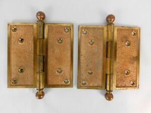 Vintage Baldwin Brass Door Hinges Round Tip Pair 5 5 X 5 5 No 62