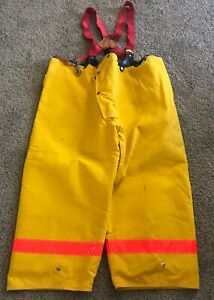 50x26 Alb Inc Yellow Firefighter Pants Bunker Turn Out Gear Suspenders