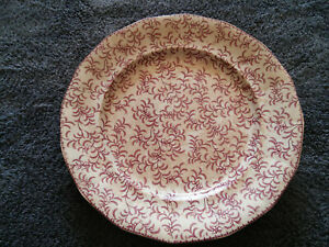 Antique W Ridgway Ninon Pearlware Transfer Decorated Plate Maroon 1830 54