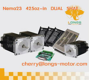 3axis Nema23 Dual Shaft Stepper Motor 425oz in Cnc Lathes Cnc Plasma Cutters