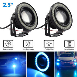 2 5 Led Fog Light Projector Drl Lamp Cob Angel Eye Halo Ring Ice Blue Car Truck