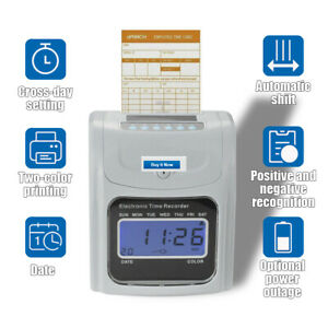 Employee Attendance Punch Time Clock Payroll Recorder Lcd Display W 100 Cards