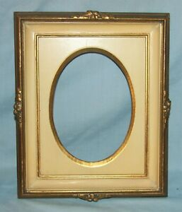 Pair Vintage Gold Gilt Creamy White Layered Wood Picture Art Frames
