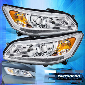 For 04 08 Acura Tsx Cl9 Jdm Projector Chrome Housing Amber Reflector Clear Lens
