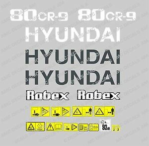 Hyundai 80 Cr 9 Digger Excavator Decal Sticker Set With Safety Warning Signs