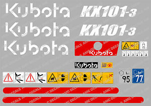 Kubota Kx101 3 Mini Digger Complete Decal Sticker Set With Safety Warning Signs
