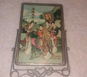 Mirror Chinese With Stand Etched Antique Vintage Beauty China