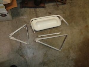 Nos Vintage White Large Truck Door Mirror W Brackets Ford Dodge Chevy Gmc Mack