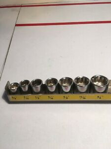 Vintage 7 Pc Standard Socket Set 3 8 Drive Sizes 3 8 To 3 4 And Metal Tray