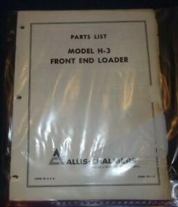 Allis Chalmers Model H 3 Front End Loader Parts Manual Book Catalog