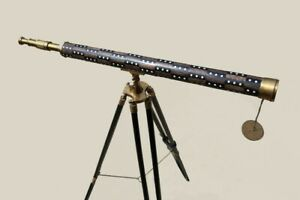 Nautical Floor Standing Antique Style Telescope Wooden Tripod