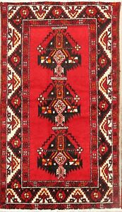Persian Balouch Wool Area Rug Old Hand Knotted Oriental Geometric Carpet 4 X 6