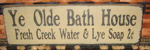 Primitive Country Ye Olde Bath House 12 Sign
