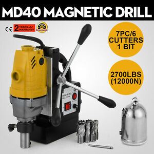 Md40 Magnetic Drill Press 7pc 1 Hss Cutte Set Electromagnetic Cuts Precise
