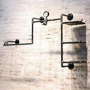 Industrial Retro Pipe Hung Clothing Rack Multi function Wall Mounted Clothes