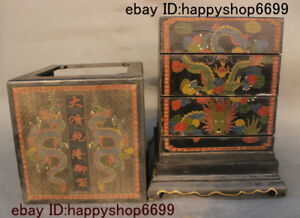 Old Chinese Wood Lacquerware Dragon Storage Jewelry Box Chest Bin Statue 12 Inch