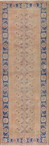 Antique Geometric Persian Malayer Runner Rug Handmade Oriental Old Carpet 4 X 11