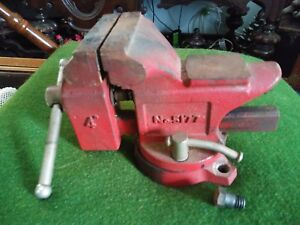 Vintage Machinist Anvil 4 Swive Bench Vise Red Japan no 5177 Gc 009