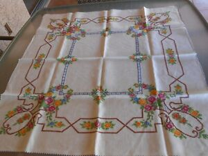 Beautiful Vintage Cross Stitch Linen Tablecloth Table Topper Hand Made