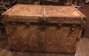 Rare Old Stagecoach Boat Leather Trunk Chest Studs Signed Chapman Shipping Ok