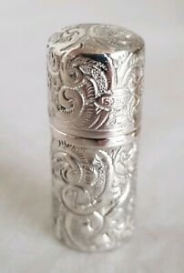 Victorian Sterling Silver Dressing Table Vanity Bottle And Cover London 1883