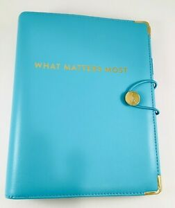 Emily Ley At a glance Get Organized Planner Binder Aqua Blue what Matters Most
