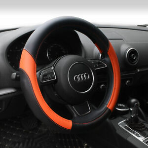 15 Car Steering Wheel Cover Pu Leather Universal Fit Protection M Orange