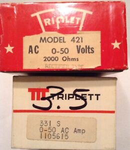 Two Triplett Panel Meters Model 331s And Model 421 rectifier Type
