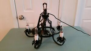 Vintage Spanish Revival Gothic Wrought Iron 5 Arm Chandelier