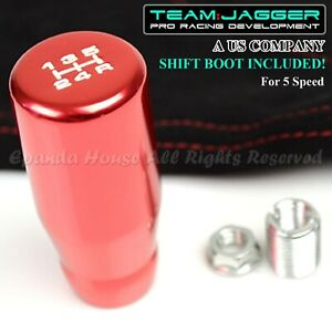 For Vw Lotus M12 White 5 Speed Long Manual Gear Shift Knob Red Red Stitch Boot