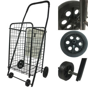 Black Folding Shopping Cart Basket With Wheels Supermarket Trolley