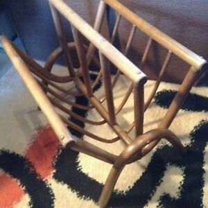 Rare Vintage Rattan Newspaper Magazine Holder Rack Paul Frankl Style