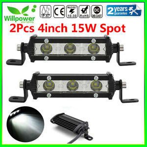 2x 4inch 15w Spot Beam Slim Led Work Light Bar Single Row Car Suv Off Road Truck