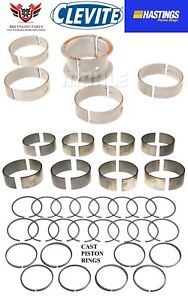 Chevy Sbc 327 350 Clevite Rod And Main Bearings With Hasting Piston Rings 68 95