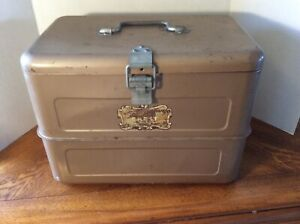 Rare Vintage Hemp Co Little Brown Chest Antique Cooler Ice Box W Pick Tray