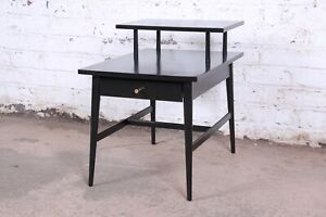 Paul Mccobb Planner Group Two Tier Ebonized End Table Or Nightstand 1950s