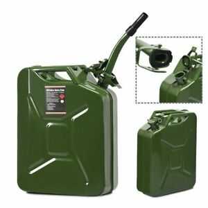 Durable 5 Gallon Green Steel Gas Can 20 L Jerry Fuel Can