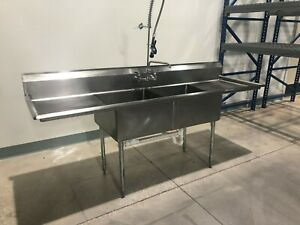 2 Compartment Nsf 304 Stainless Steel Commercial Sink 18 Gauge