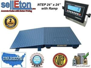 Floor Scale Ntep 1 Ramp 24 X 24 2 X 2 10 000 Lbs X 2 Lb With Lcd Display