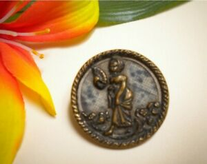 Antique Lady With Fan Walking In Flowers Victorian Metal Picture Button