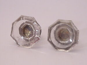 Lot Of 2 Large Octagon Glass And Brass Door Furniture Cabinet Handles